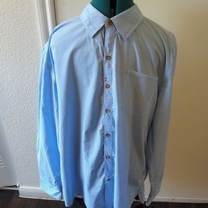 Robert Graham Mens Light Blue White Long Sleeve